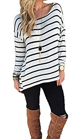 Halife Women 's Black and White Striped Shirt Tops Long Sleeve Blouse with Hi Low Hem Small 1