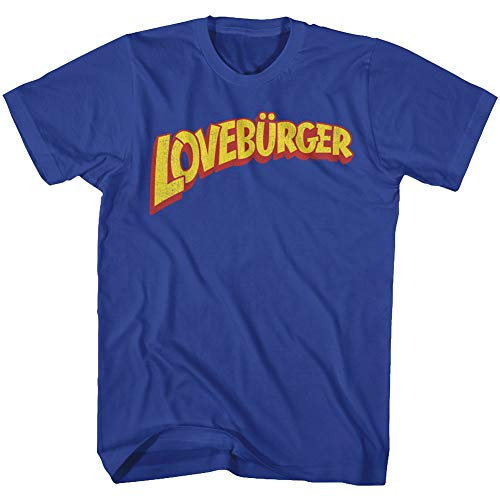 Cant Hardly Wait - Mens Loveburger T-Shirt, Size: XX-Large, Color: Royal