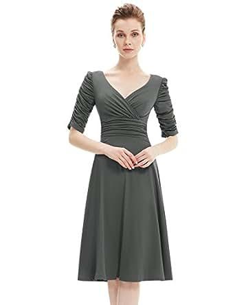 Ever Pretty Womens 3/4 Sleeve Ruched Waist Classy V Neck Cocktail Dress 4 US Dark Grey