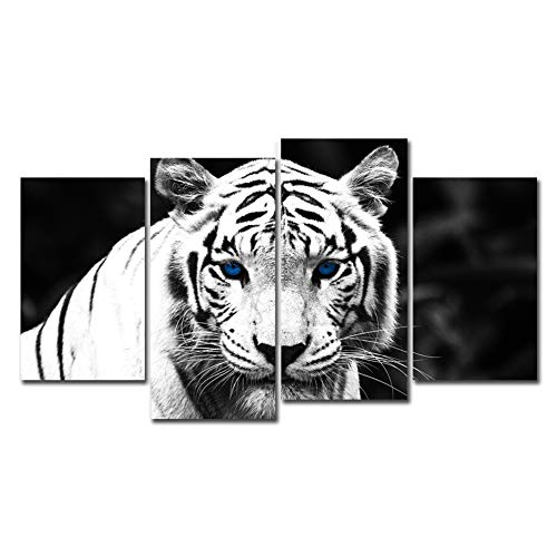 4 Pieces Painting Animal Prints Wall Art, White Tiger Blue