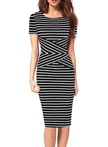 SYLVIEY Women's Summer Striped Sleeveless Wear to Work Casual Party Pencil Dress (Large, Black)