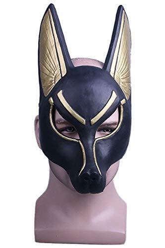 Hao Kaos Adult Egyptian Anubis Cosplay Mask Wolf Head Jackal Animal Masquerade Props Party Halloween ()