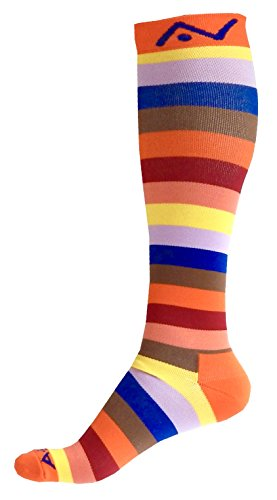 A-Swift Compression Socks (1 Pair) for Women & Men Best for Running, Athletic Sports, Crossfit, Flight Travel - Suits Nurses, Maternity Pregnancy - Below Knee High (Orange Stripes, Medium)