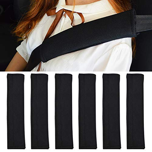 TaiTian 6PCS Black Car Seat Belt Covers Soft Headrest Neck Pillow,Car Safety Seatbelt Shoulder Strap Pad - A Must Have for All Car Owners for A More Comfortable Driving