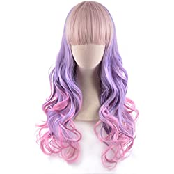 "REECHO Curly Wavy Wig 24"" Long with Bangs Synthetic Hair Lolita Style for Women at Party Cosplay Costume Light Purple Cyclamen Pink Multicolor Mixed"