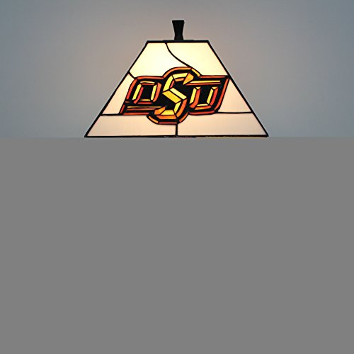 - 12-inch NCAA Oklahoma State Cowboys Stained Glass Square Table Lamp