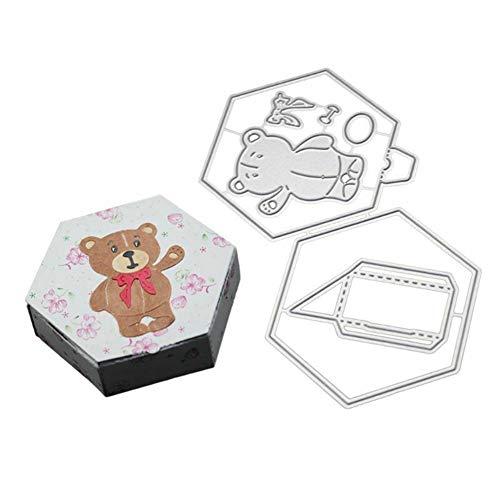 Gift Box Templates - AkoMatial Cutting Dies,Bear Gift Box Design Embossing Cutting Dies Tool Stencil Template Mold Card Making Scrapbook Album Paper Card Craft,Metal