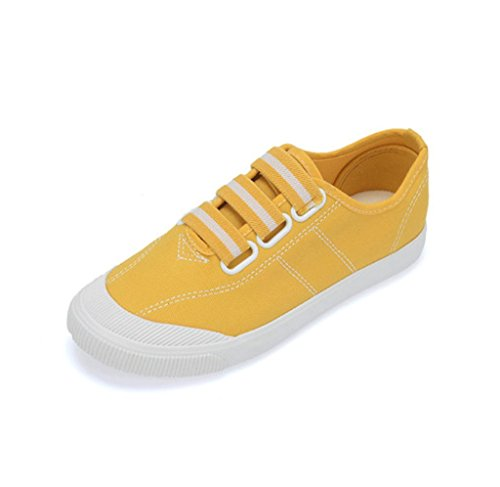Elastische Segeltuchschuhe breathable beschuht Art und Weiseschuhe flache Schuhe beiläufige Sportschuhdamenschuhe ( Farbe : Schwarz , größe : 39 ) Gelb