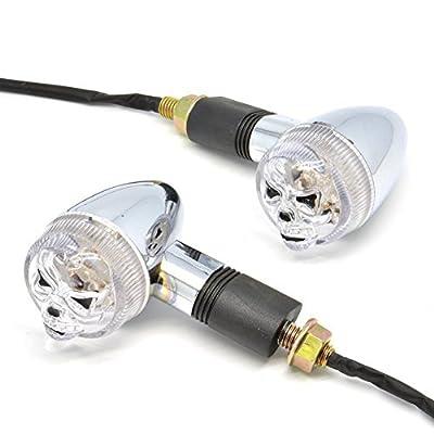 Candance(TM)Universal A Pair Of 12 LED Motor Motorcycle Motorbike Skull Turn Signal Indicator Light Bulb Blinker Amber 12V DC 0.8W