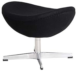 MLF Arne Jacobsen Egg Chair's Ottoman (5 Colors). Premium Cashmere & Hand Sewing. High Density Foam. 4 Star Satin Polished Aluminum Base. Strong Fiberglass Inner Shell.(Black)