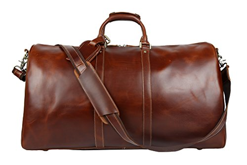BAIGIO Men's luxury Leather Weekend Bag Travel Duffel Oversize Tote Duffle Luggage (Brown) by BAIGIO (Image #1)