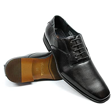 Ferro Aldo Men's Formal Black Snipe Toe Dress Shoes Lace up Oxfords 19277a (6.5 U.S)