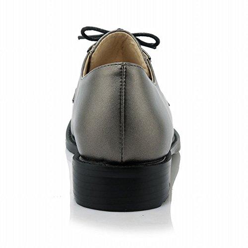 Latasa Mujeres Con Cordones Planos Vestido Oxford Zapatos Pizarra Gris