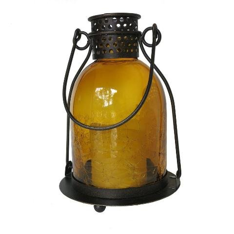 Bronze Amber Glass Lantern (Smart Design 84069-LC Monaco Lantern with LED Candle, Antiqued Bronze-Finished Metal, Includes Amber LED)