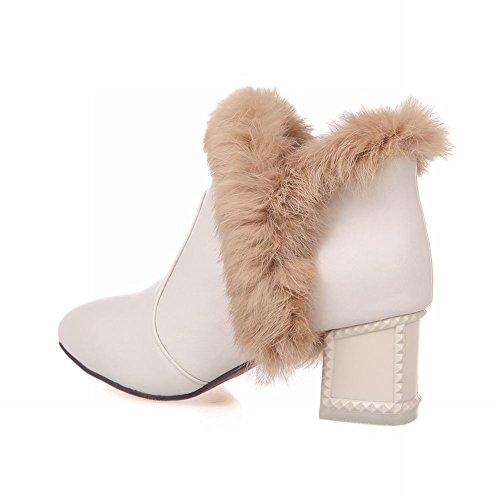 Carol Shoes Women's Fashion Western Mid-heel Short Snow Boots apricot XZjRGnK9