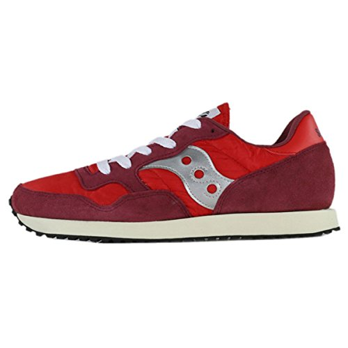 Saucony Mens DXN Vintage S70369-7 Suede Trainers Red Silver D06RZmv
