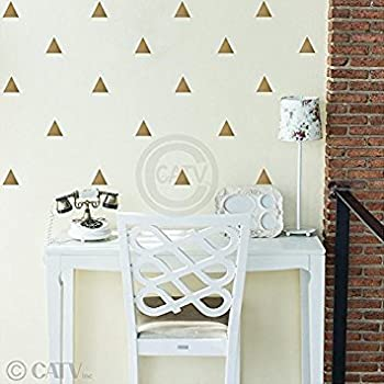 Triangle wall pattern vinyl decal stickers (Gold, 3x3 set of 92)
