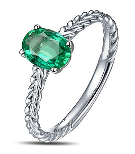 (AMDXD 18K Gold Women Rings Wheat Wedding Ring Diamond Ring Silver with Green Emerald Size 8)