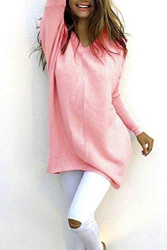 Las Mujeres Suéter De Manga Larga Camisa De Cuello En V Jerseys Sueltos Pink