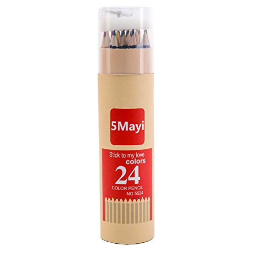 5Mayi Assorted Colors Long Drawing Pencils/Colored Pencils with Sharpener (Set of 24)