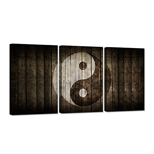 iHAPPYWALL 3 Pieces Religion Canvas Wall Art Black and White Yin Yang Symbol on Wood Backgroud Spiritual Peace Tao Gossip Chinse Religion Giclee Canvas Print for Home Living Room Decor