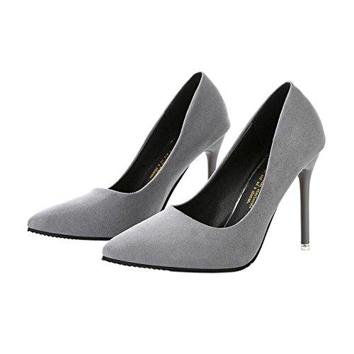 Zhuhaixmy Damen Wildleder Flacher Mund Spitz Schuhe 10CM High Heels Frau Einzelne Schuhe Gary