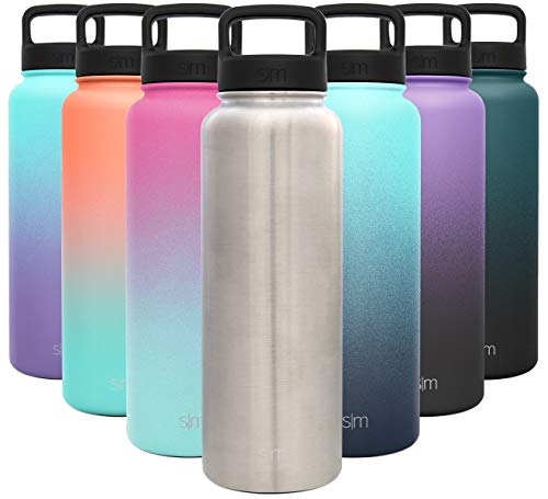 Simple Modern 40 Ounce Summit Water Bottle - Stainless Steel Liter Flask +2 Lids - Wide Mouth Tumbler Double Wall Vacuum Insulated Silver Leakproof -Simple Stainless