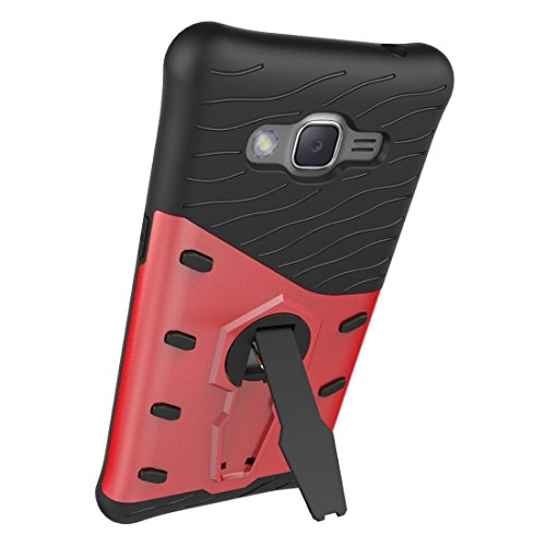 XIAOGUA Cases & Covers, Para Samsung Galaxy J2 Prime Resistente a los golpes 360 grados Spin Tough Armor TPU + PC Caja combinada con soporte ( Color : Black ) Red