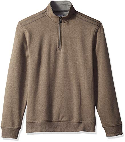 Van Heusen Men's Flex Long Sleeve 1/4 Zip Soft Sweater Fleece, Deep Brown Morel, X-Large