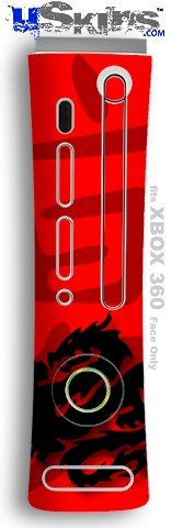 XBOX 360 Faceplate Skin - Oriental Dragon Black on Red