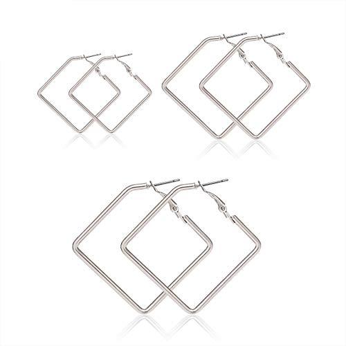 LPON Square Hoop Earrings 3 Pairs Geometric Hoop Earrings Dangle Earring Set for Women Girls (Smaller Silver Set)