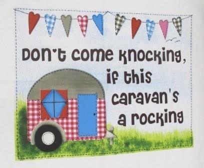 Caravan Tea Towel 'Don't Come Knocking If This Caravan's A Rocking- Camping Decor-Kitchen Towel-Kitchen Dish Cloths,