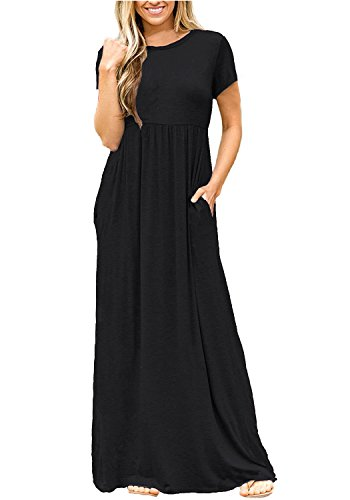 Succlace Womens Short Sleeve Casual Plain Pleated Pockets Maxi Dress Black L ()