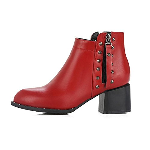 EUR35UK3 EUR Blanco 4 High Negro Botas NVXIE del Remaches Fiesta Invierno PU Otoño 3 Heel pie Rough 36 Dedo RED 5 UK Artificial Mujers Cortas Trabajo Puntiagudo de np46q4RA