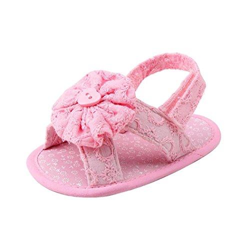 (0 ~ 18 Meses)Sandalias de la flor de las niñas de los bebés, zapatos de los primeros Walkers de la princesa del niño de Koly (13, Azul) Rosado