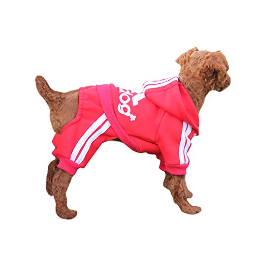 Red Dog Coats Clothes (EastCities Winter Puppy Hoodie for Small Dogs Warm Coat Sweater Four Legs Pet Clothes for Dog Cat,Red L)