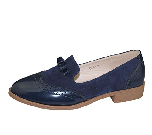 Womens Slip On Bow Embellihsed Brogues Ladies Casual Oxford Loafers Vintage Shoes Size Blue Op5MwVG