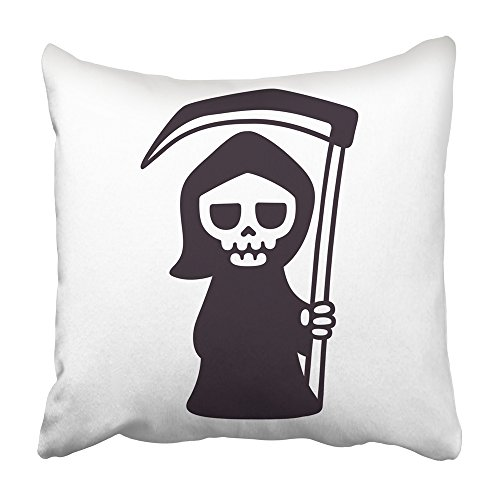 Emvency Decorative Throw Pillow Covers Cases Character Cute Death Scythe Black White Drawing Cartoon Grim Reaper Clip Cloak Comic Dark 16x16 inches Pillowcases Case Cover Cushion Two -