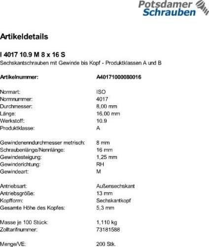 25 Sechskantschrauben ISO 4017 10.9 schwarz M18x90