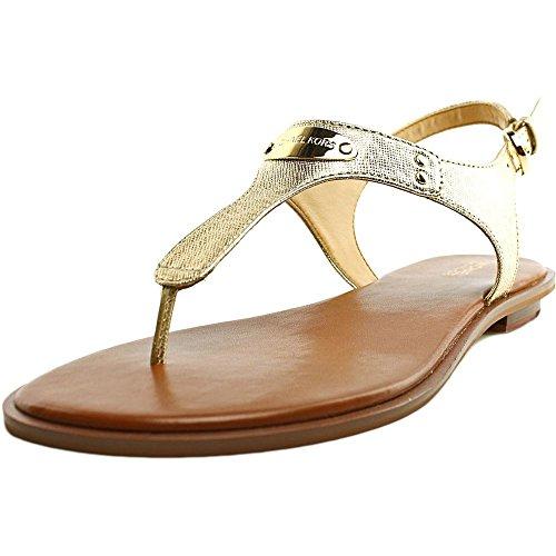 MICHAEL Michael Kors Women's MK Plate Thong Pale Gold Metallic Saffiano Sandal 7 M by MICHAEL Michael Kors
