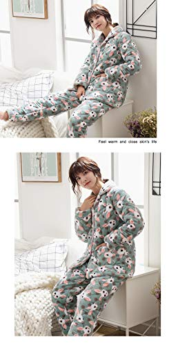 30 Outside 164cm Can Winter L158 layer And Velvet Suits Warm Thick 47 Ladies 50kg Three Pajamasx Pajamas Autumn Cute M150 57kg Plus Quilted Coral Clothing 162cm Wear aq6R64xwA