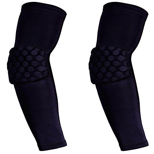HWB 1 Pair / 2 Pcs Honeycomb Pad Crashproof Basketball Football Volleyball Compression Arm Guard Sleeve