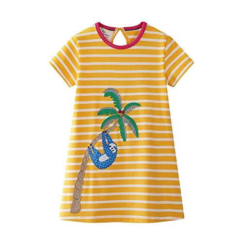 WRHJZW Kids Girls Cotton Dress Short Sleeves Casual Summer Striped Bear Shirt Dresses for Girls