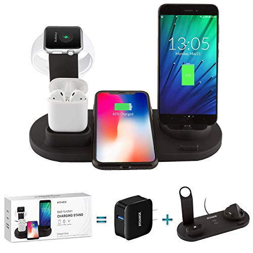 BTCHARGE Wireless Charger Dock - 4-in-1 Multiple Device Fast Charging Station - Qi Fast Wireless Charging Stand Compatible iPhone 11, 11 Pro, X, XS, XR, XS Max, 8, 8 Plus, Samsung