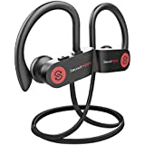 SoundPEATS Bluetooth Headphones Sports Wireless Earbuds, IPX7 Waterproof Headphones with Mic, Richer Bass HiFi Stereo in-Ear Earphones, 8 Hours Playtime Noise Cancelling Headsets (Black)
