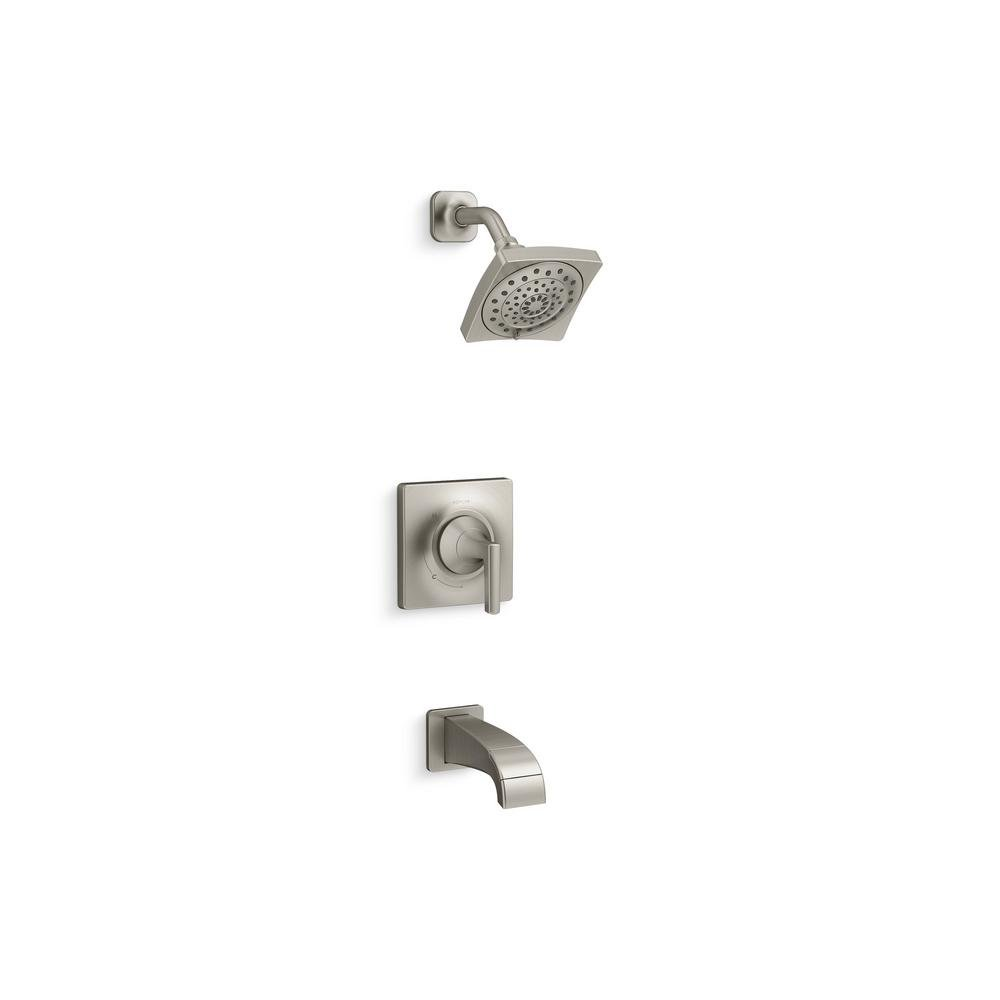 KOHLER Katun 1-Handle 3-Spray Tub and Shower Faucet in Brushed Nickel (Valve Included)