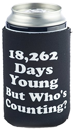 Funny Guy Mugs 50th Birthday - 18,262 Days Young Collapsible Neoprene Can Coolie - 50 on (50th Birthday Beer)