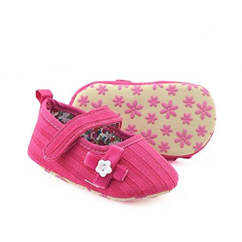 Xshuai Newstylish Newborn Infant Baby Girls Bogen Blumenkranz Schuhe Weiche Materialien Sohle Anti-Rutsch-Sneakers (0-18 Monate Weiß / Rosenrot / Schwarz / Grau) Rosenrot