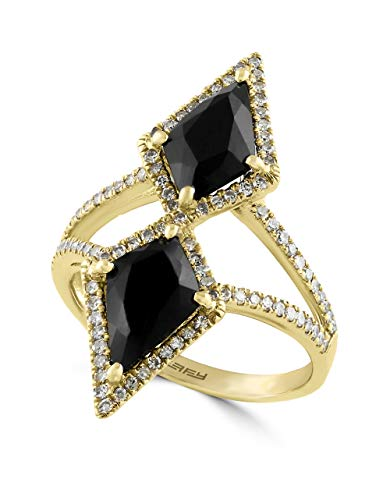 Effy Eclipse Onyx (2-1/4 ct. t.w.) and Diamond (2/5 ct.) Geometric Ring Set in 14K Yellow Gold