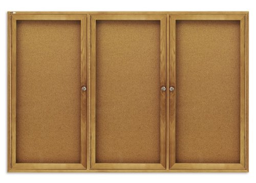 Quartet 367 Quartet Enclosed Bulletin Board, Natural Cork/Fiberboard, 72 x 48, Oak Frame